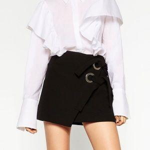 Zara Black Wrap Skirt with Ties